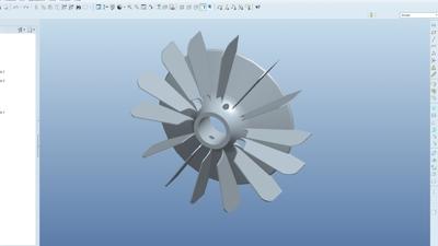 CAD tekening van een ventilator in kunststof