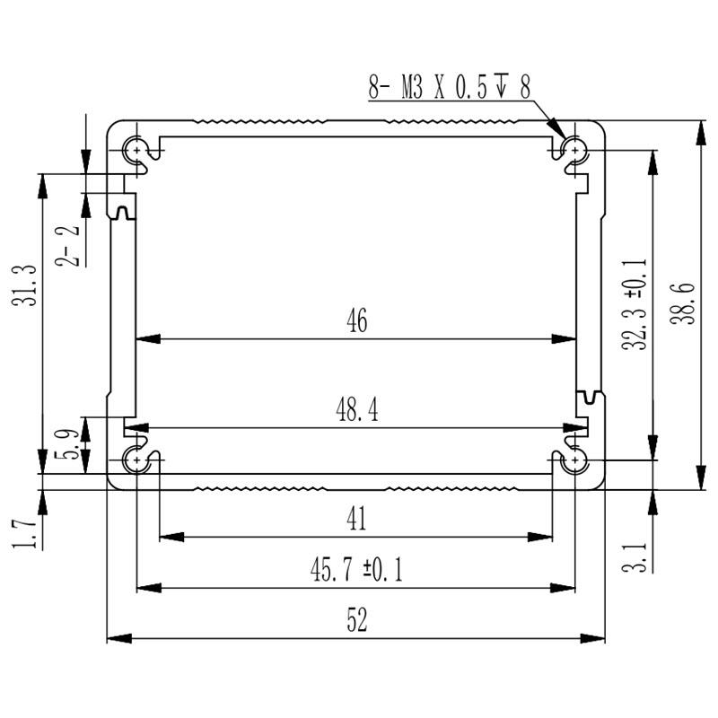 D1001433 – Elektronicabehuizing uit aluminium 52B38H80L dimensions