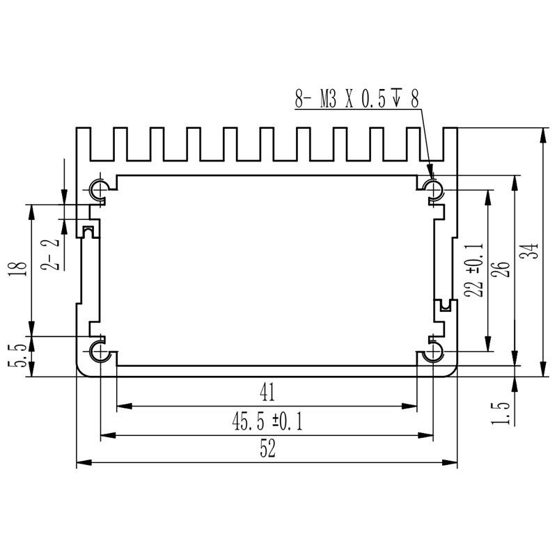 D1001432 -aluminium behuizing van extrusie materiaal-52W34H80L afmetingen