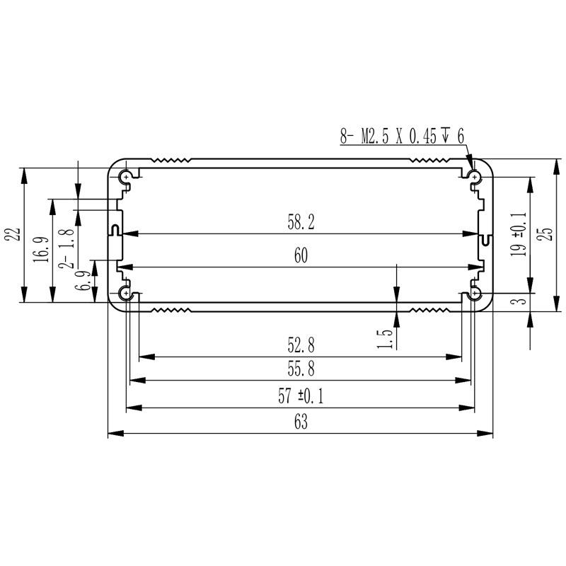 D1001435 – Enclosure voor elektronica 63B25H75L bemating