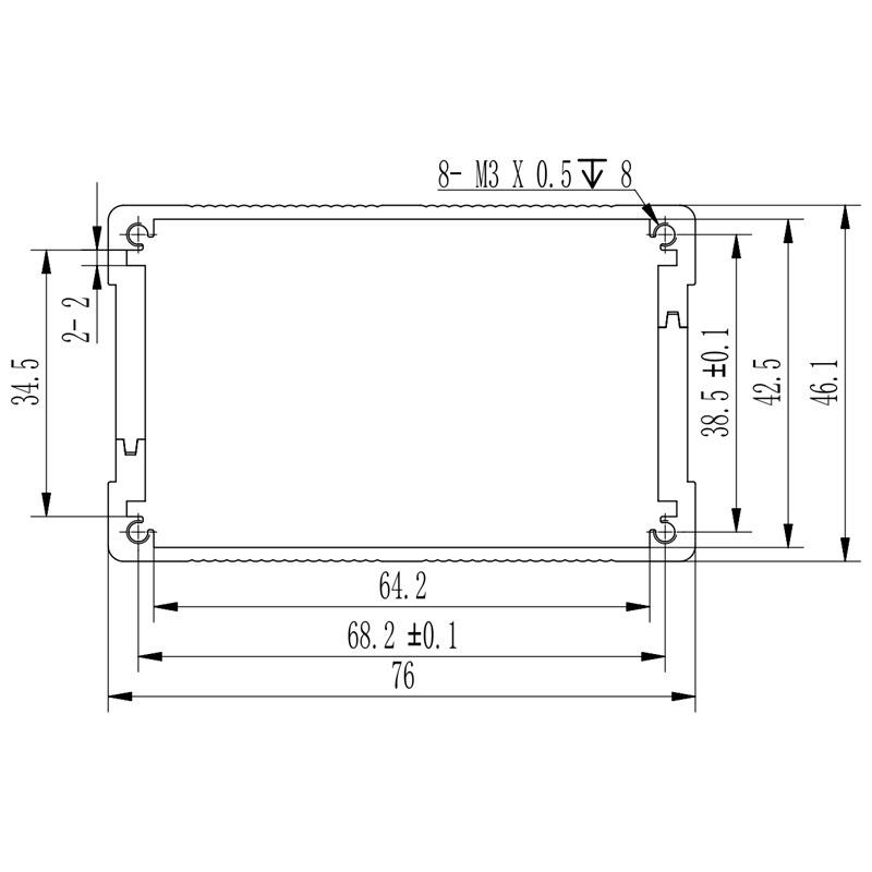 D1001437 afmetingen van een elektronicabehuizing