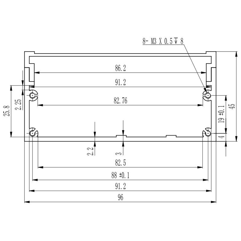 D1001441 afmetingen voor inbouwen printplaat