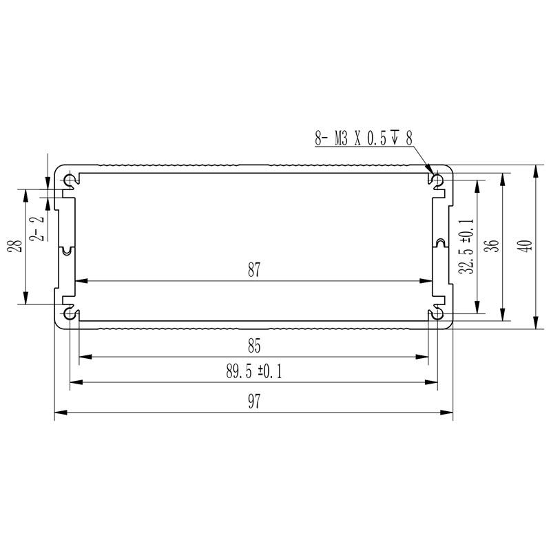D1001442 afmetingen voor inbouw van printplaat in behuizing