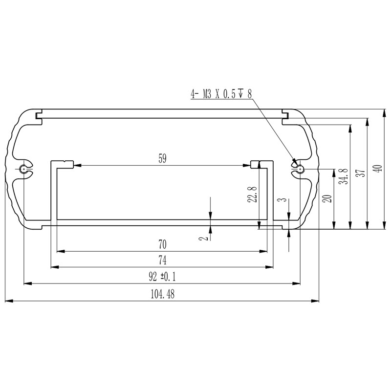 D1001444 behuizing elektronica afmetingen extrusie