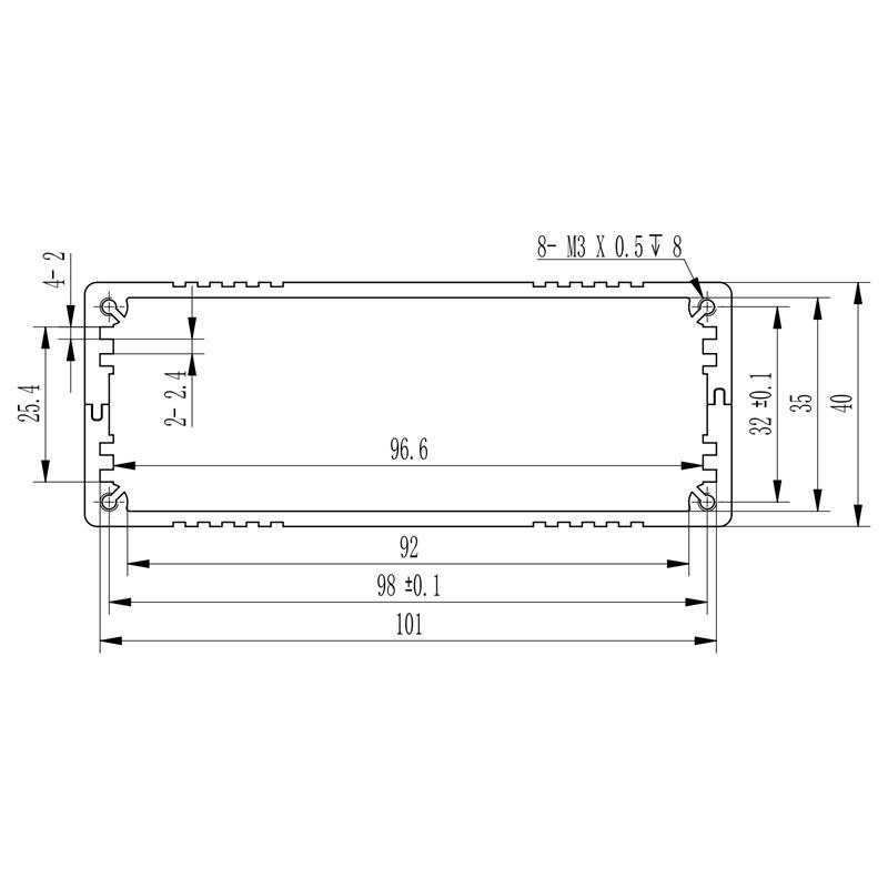 D1001445 afmetingen extrusieprofiel voor inbouw van printplaat