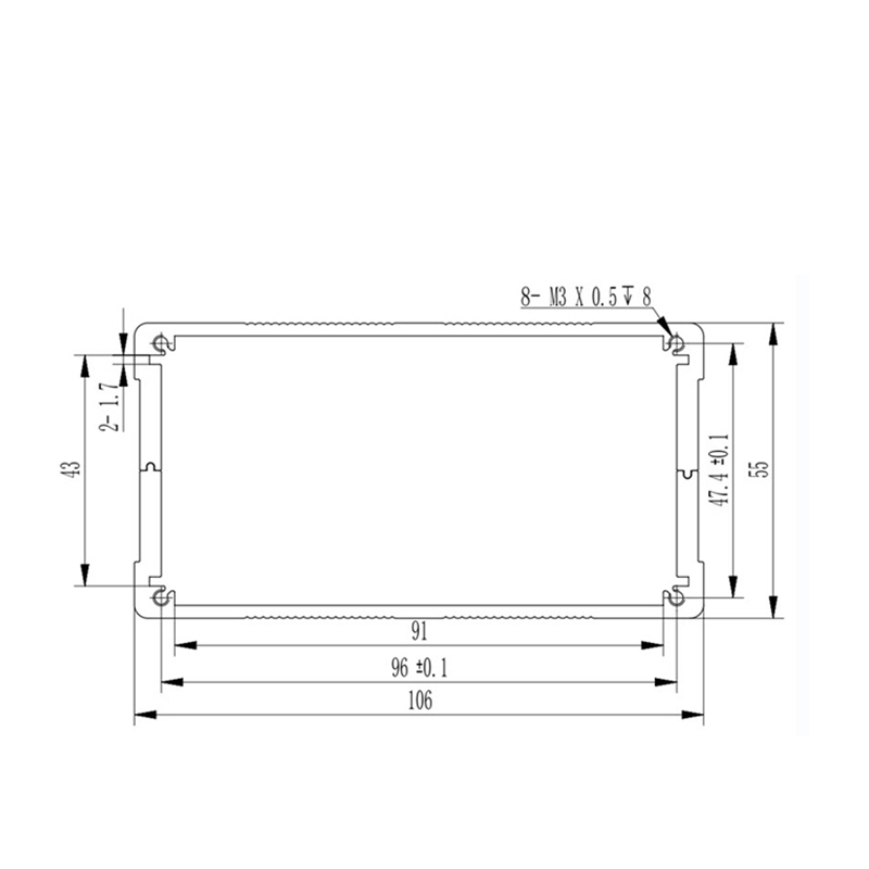 D1001447 dimensions of extruded aluminum enclosure