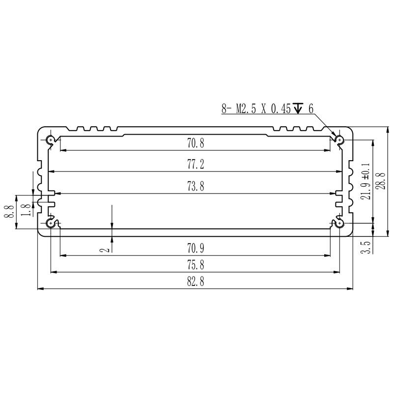 D1001453 afmetingen van extrusieprofiel