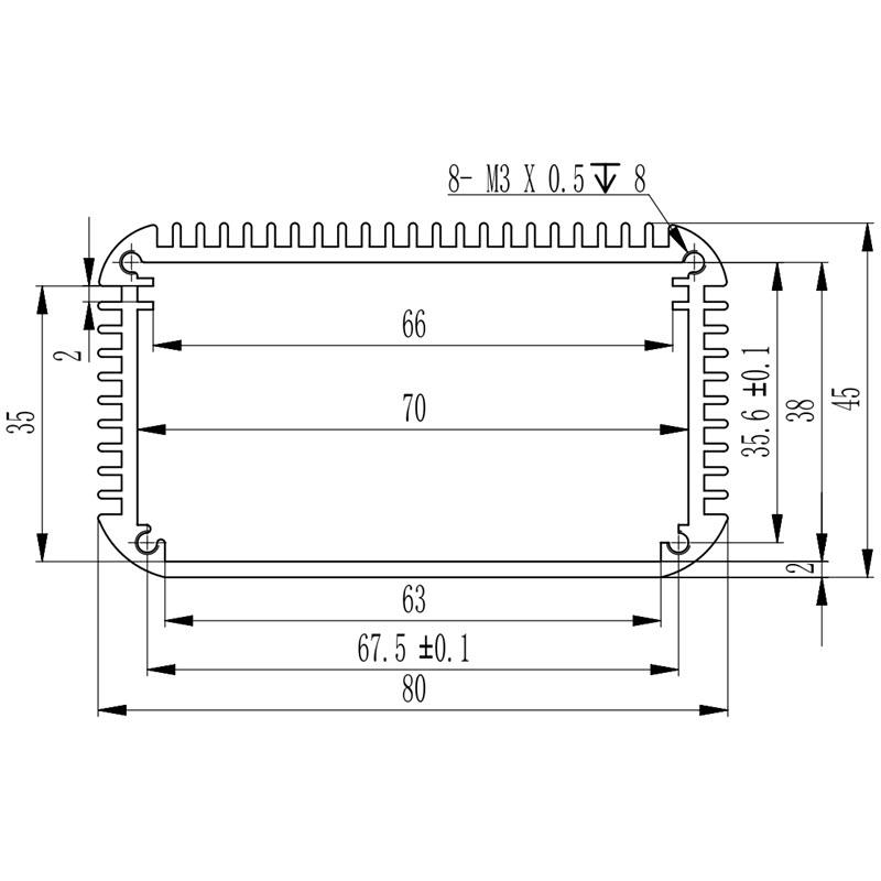 D1001457 – Aluminium behuizing voor elektronica 80B45H100L afmetingen