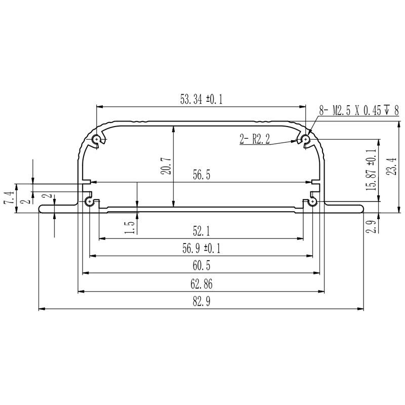 D1001458 – Aluminium behuizing 82.9B23.4H90L afmetingen