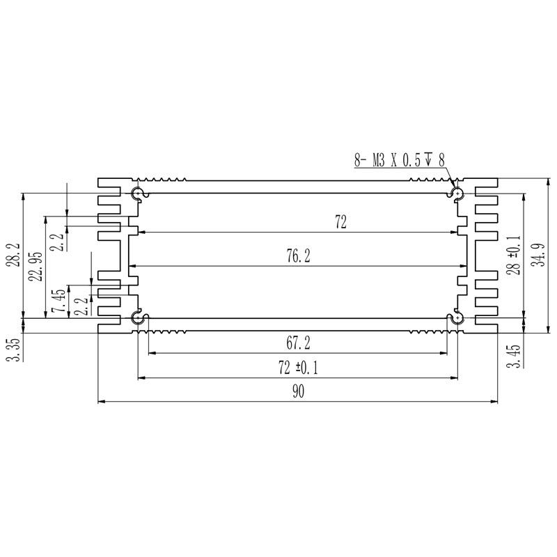 D1001460 – behuizing met koelribben 90B35H115L afmetingen